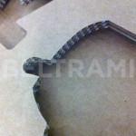 """ALESSI – Particolare del divisorio interno delle scatole avana linea """"Progiotti"""" sagomato con taglio laser."""
